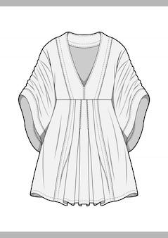 ドレスファッション技術的な図面のベクトルテンプレート