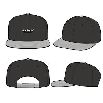 スナップバックキャップファッションフラットベクトルイラストモックアップデザイン
