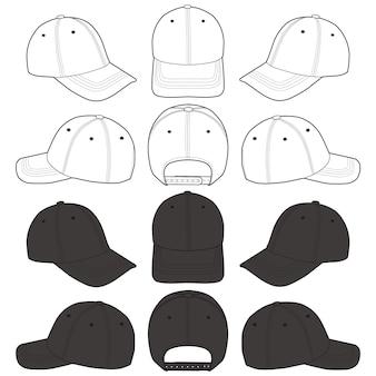 野球帽ファッションフラットスケッチテンプレート