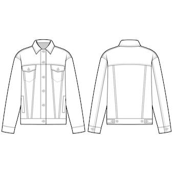 デニムジャケットアウターファッションフラットスケッチテンプレート