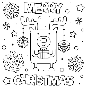 メリークリスマス。ぬりえのページ。黒と白のベクトル図。