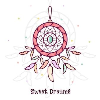 良い夢を。ドリームキャッチャー。ベクトル図。