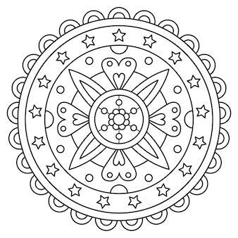 マンダラ。ぬりえのページ。ベクトル図。