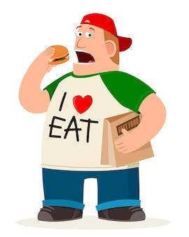 ファットマンハンバーガーを食べる