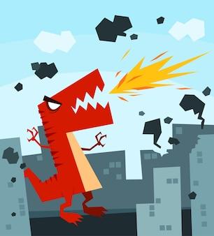 怒っている巨大な恐竜が街を破壊する