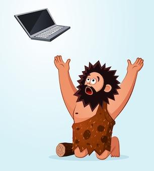 Пещерный человек поклоняется ноутбуку