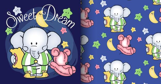 Набор рисованной милый слон