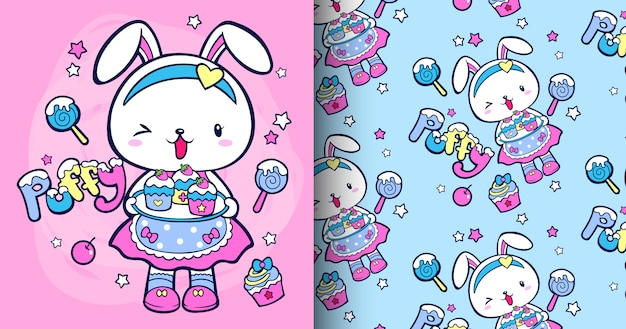 Набор рисованной милый кролик