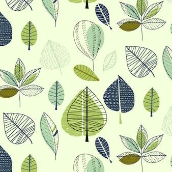手描きの葉模様の背景
