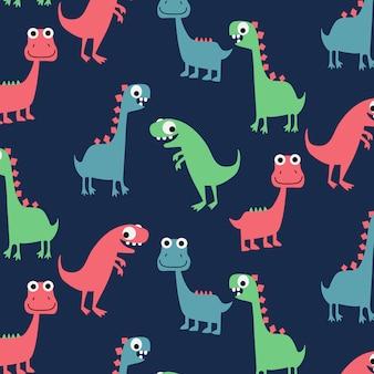 手描きのかわいい恐竜パターン背景