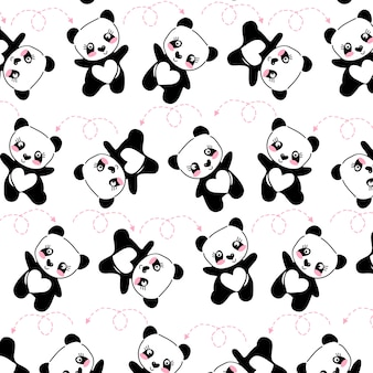 Ручной обращается милая панда шаблон