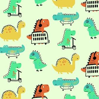 手描きかわいい恐竜パターン