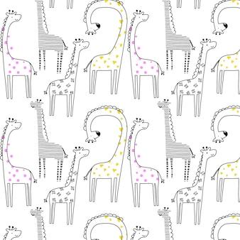 手描きキリンパターン