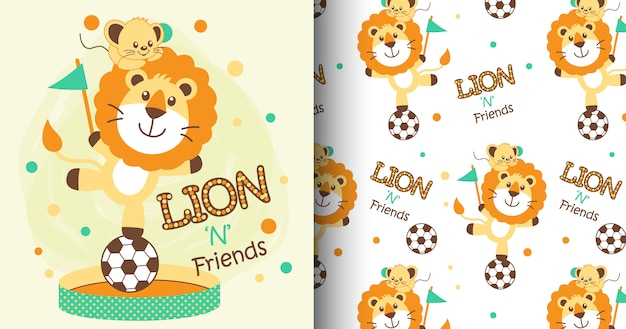 手描きのかわいいライオンパターンとカード