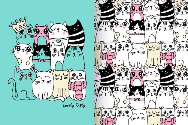 手描きのかわいい子猫パターンベクトルセット