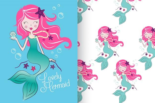 パターンが設定された手描きのかわいい人魚