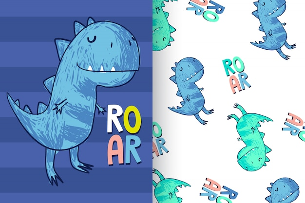 パターンが設定された手描きのかわいい恐竜