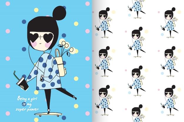 パターンベクトルセットで手描きの少女