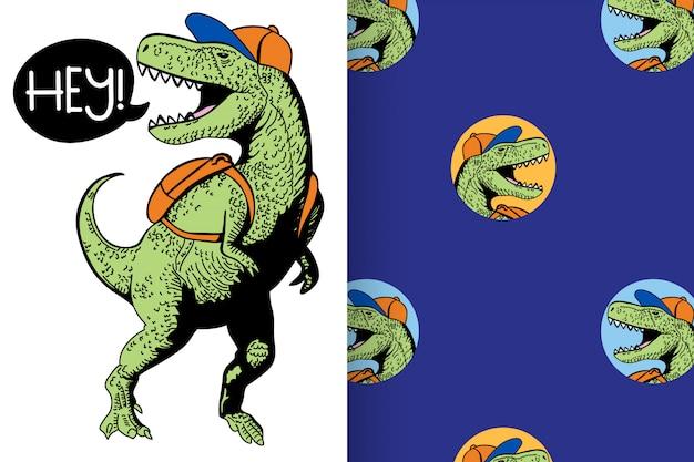 パターンベクトルセットで手描きの恐竜