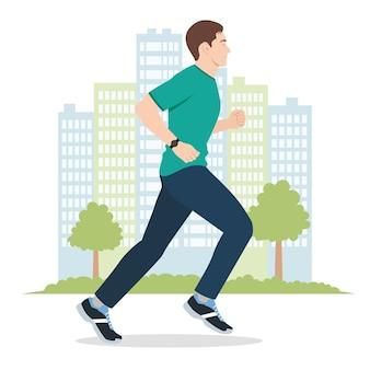 Иллюстрация молодого человека, бегущего