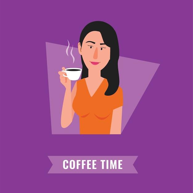 コーヒータイムイラスト。女性のコーヒーを飲む