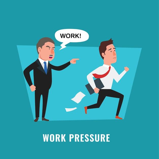 締め切りに間に合わない怒っているボスが従業員に叫ぶ