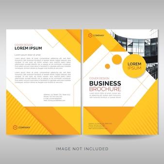 黄色の幾何学図形をビジネスパンフレットの表紙のテンプレート