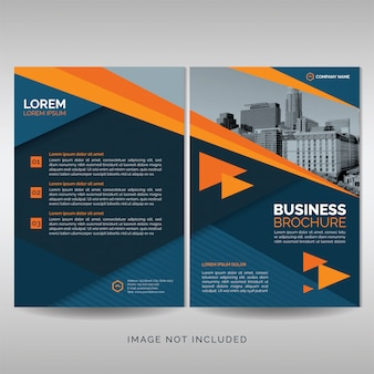 オレンジ色の詳細とビジネスパンフレットの表紙のテンプレート