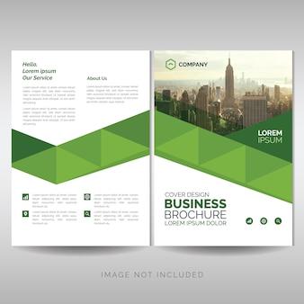 グリーンの幾何学的なビジネスパンフレットのテンプレート