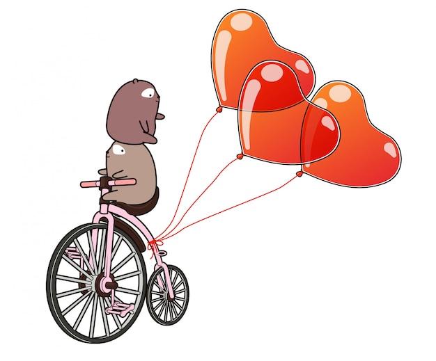 かわいいクマがハートの風船で自転車に乗っています