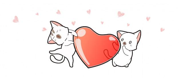 Баннер каваий пара кошка и сердце на день святого валентина