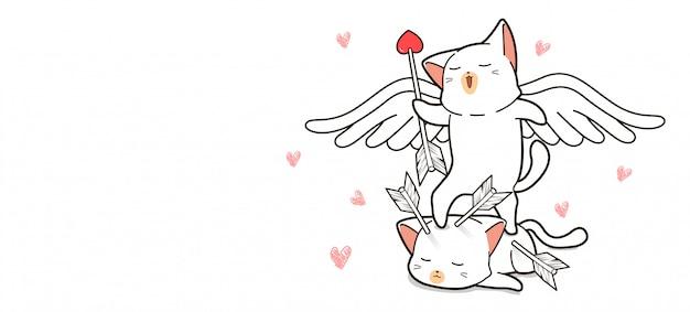 愛らしいキューピッド猫は矢印を保持しています