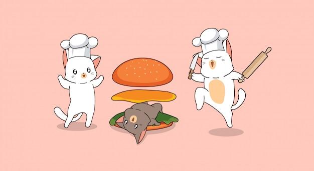 猫のハンバーガーを作る愛らしい猫シェフ