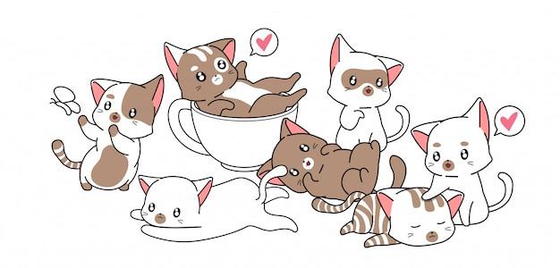 多くの小さなかわいい猫キャラクター