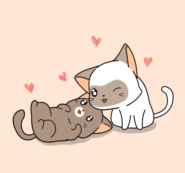 Очаровательная белая кошка заботится о другой кошке