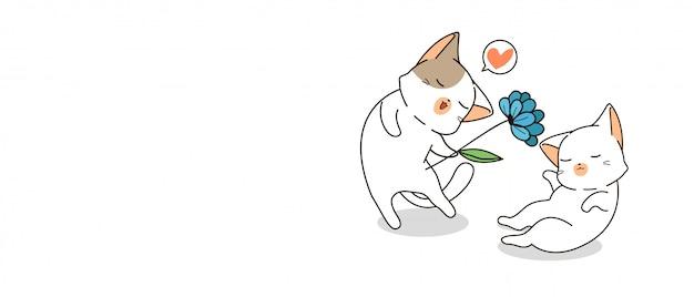 花とバナーカップル猫