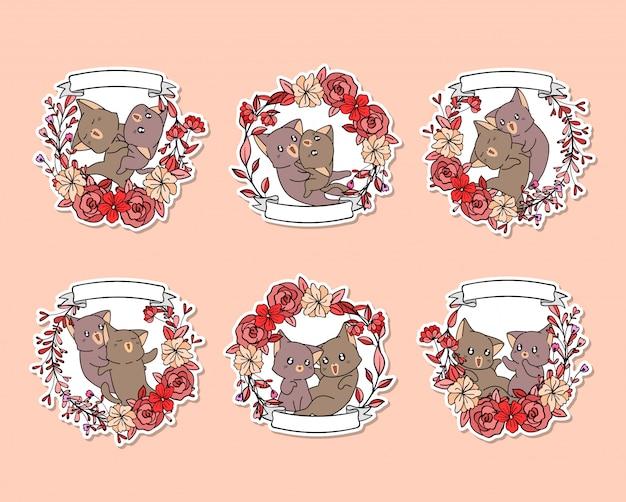 ピンクの花輪と手描きのステッカー愛らしい猫