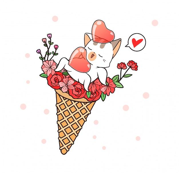 幸せな時間のための花のアイスクリームコーンの中の愛らしい猫と心