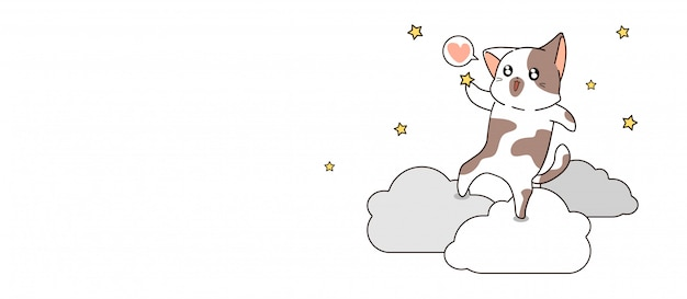 Баннер каваий кот ловит звезду на облаке