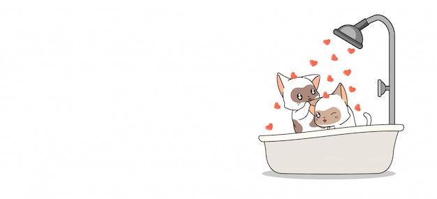 バナーかわいい猫がハートの浴槽で入浴している