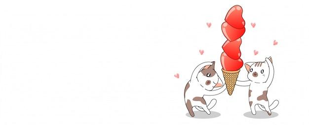 バナーかわいい猫は心アイスクリームコーンを保持しています。