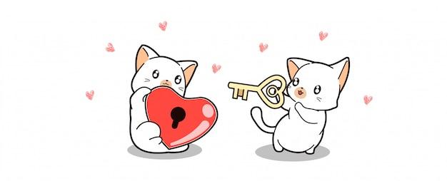 バナー挨拶かわいい猫はハートロックを保持し、他の猫はキーを保持しています。
