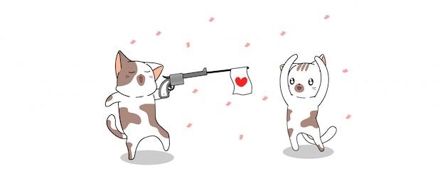 Баннер каваий кот стреляет с любовью