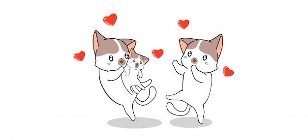 バナー挨拶愛らしい猫家族は赤ちゃん猫に満足しています
