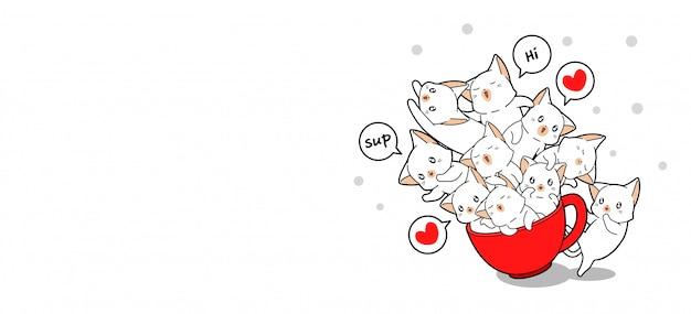 Баннер приветствия очаровательных кошек внутри красной чашки