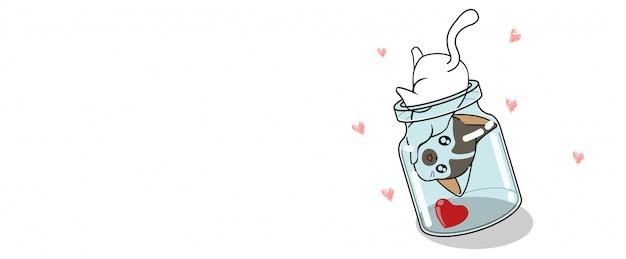 Баннер каваий кот находит сердце в бутылке
