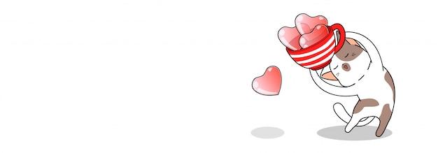 Баннер милый кот держит чашку сердец