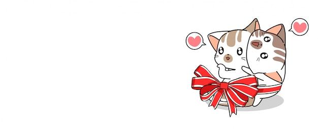 猫のバナーカップル愛は赤い蝶ネクタイで結ばれています