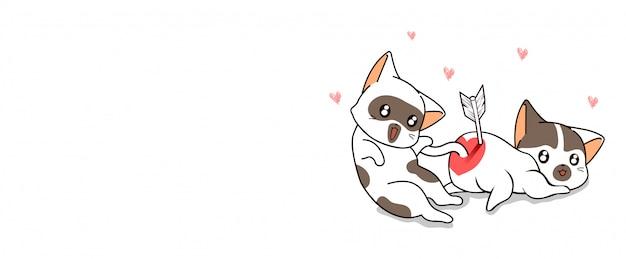 Баннер каваий кот пронзен стрелой