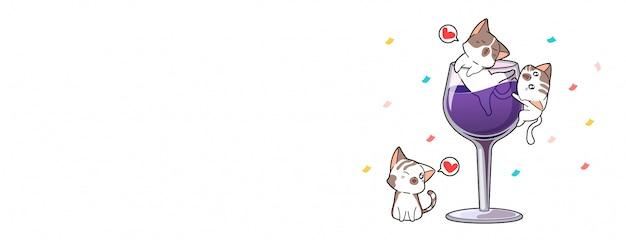 お祝いの日のかわいい猫のキャラクターとワイン